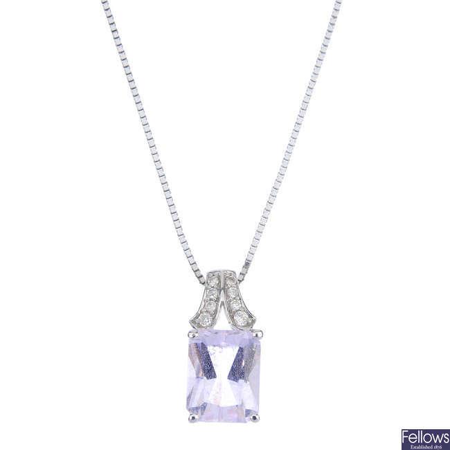 An 18ct gold kunzite and diamond pendant.