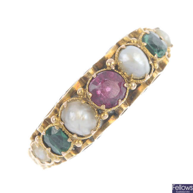 A mid Victorian 15ct gold pearl, emerald and ruby ring.