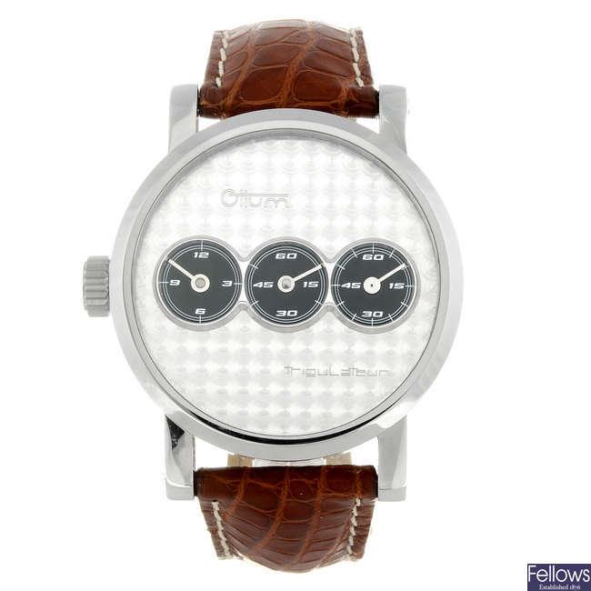 OTIUM - a gentleman's stainless steel Trigulateur wrist watch