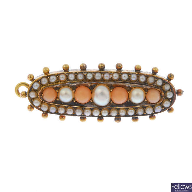 A late Victorian 18ct gold coral and split pearl memorial brooch.
