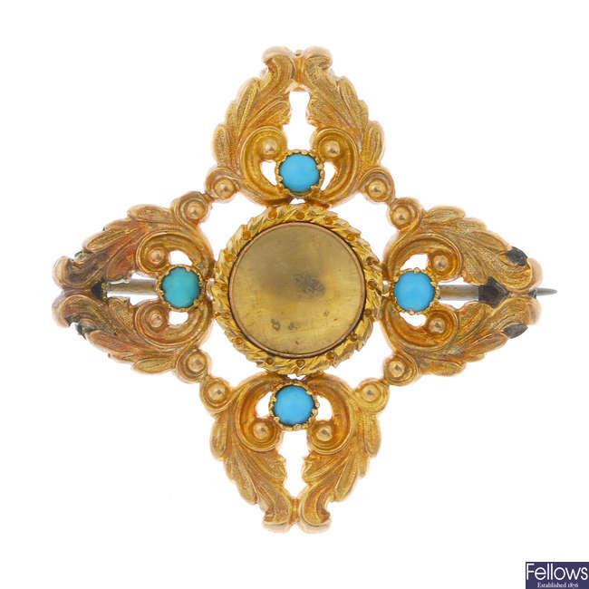 A mid Victorian gold memorial brooch.