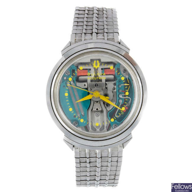 BULOVA - a gentleman's stainless steel Accutron Spaceview bracelet watch.
