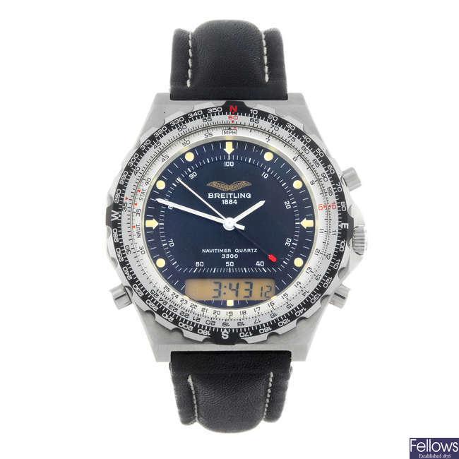 BREITLING - a gentleman's Iraqi Airforce issue stainless steel Navitimer Jupiter Pilot wrist watch.
