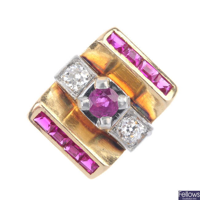A ruby, diamond and synthetic ruby ring.
