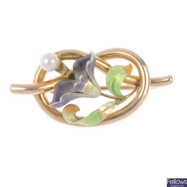An early 20th century 15ct gold enamel and cultured pearl brooch.