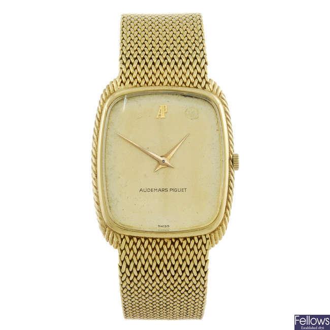 AUDEMARS PIGUET - a gentleman's yellow metal bracelet watch.