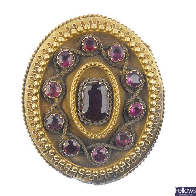 A mid 19th century garnet brooch.