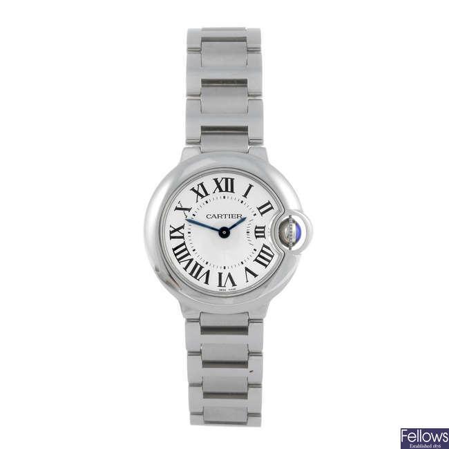 CARTIER - a stainless steel Ballon Bleu bracelet watch.