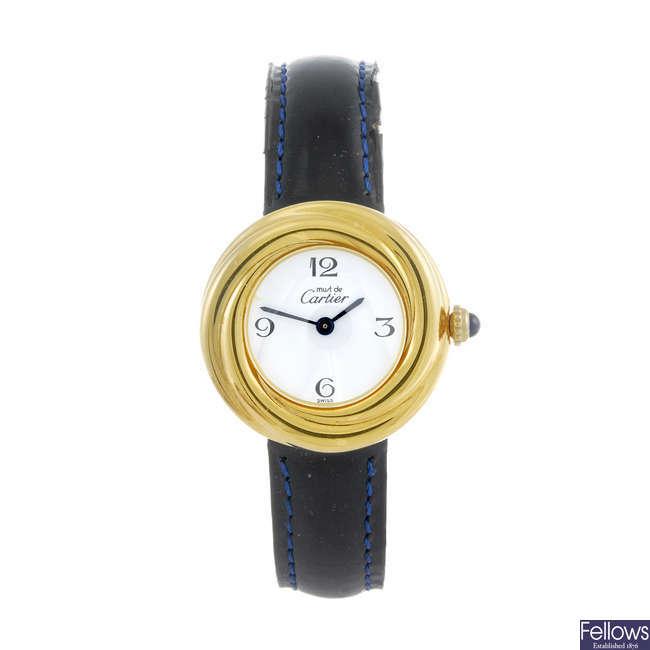 CARTIER - a gold plated silver Must De Cartier Trinity wrist watch.