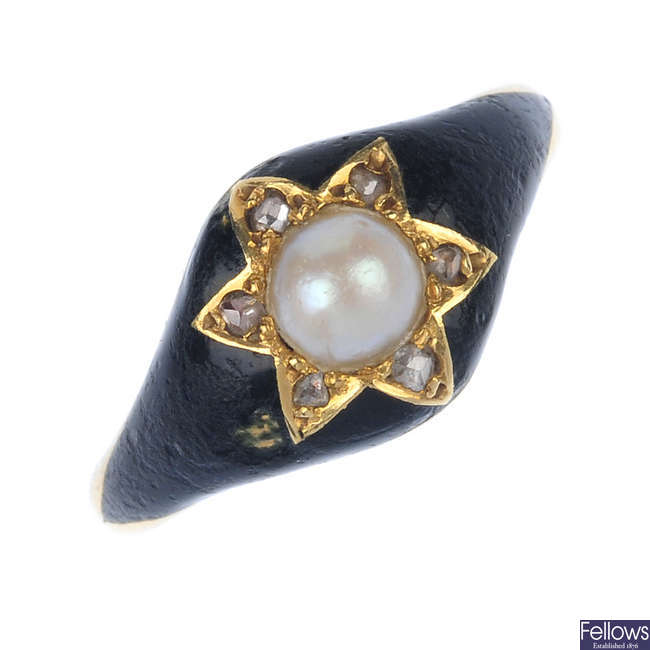 A mid Victorian 18ct gold enamel and gem-set memorial ring.