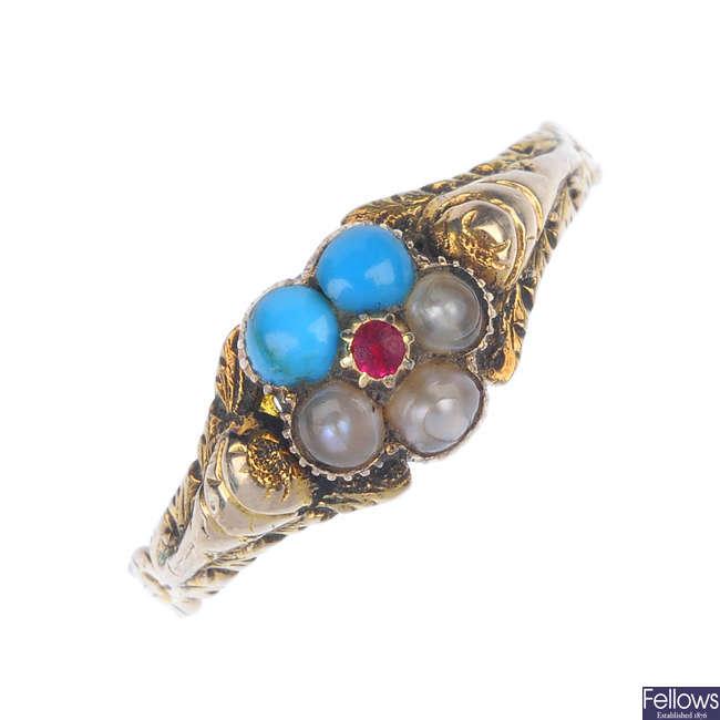 A late Victorian gold gem-set memorial ring.