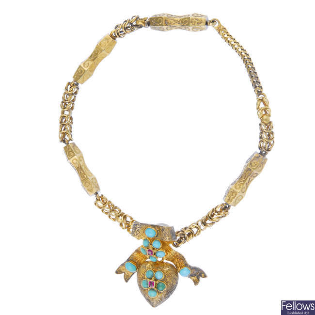 A mid 19th century gold turquoise memorial bracelet.