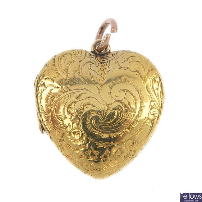 An early 20th century gold heart locket.