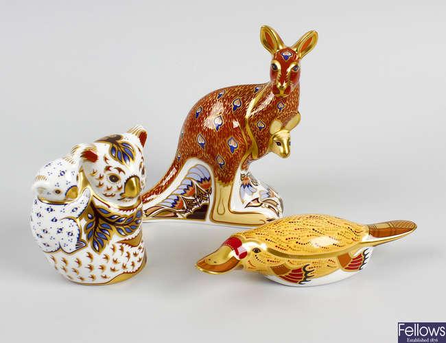 A Royal Crown Derby 'Austin Collection' ornament, etc.