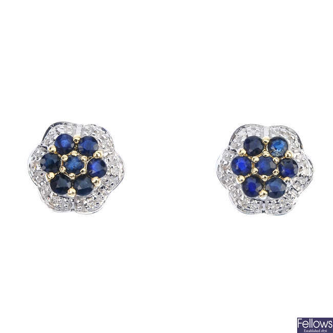 A pair of sapphire and diamond floral cluster ear studs.