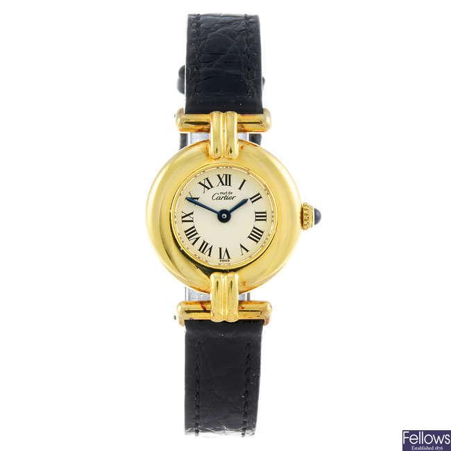 CARTIER - a gold plated silver Must De Cartier Rivoli wrist watch.