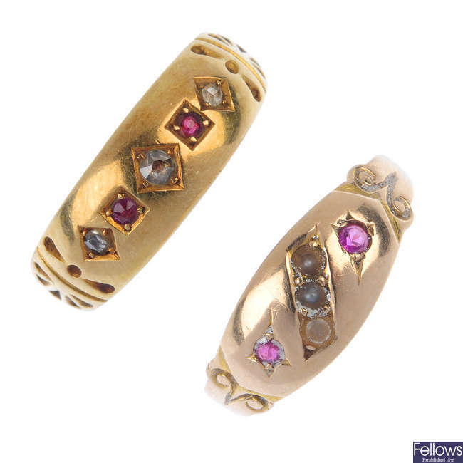 Two late Victorian 15ct gold ruby, diamond and split pearl rings.