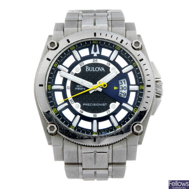 BULOVA - a gentleman's stainless steel Precisionist bracelet watch.
