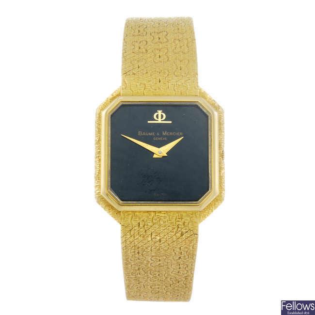 BAUME & MERCIER - a lady's 18ct yellow gold bracelet watch.