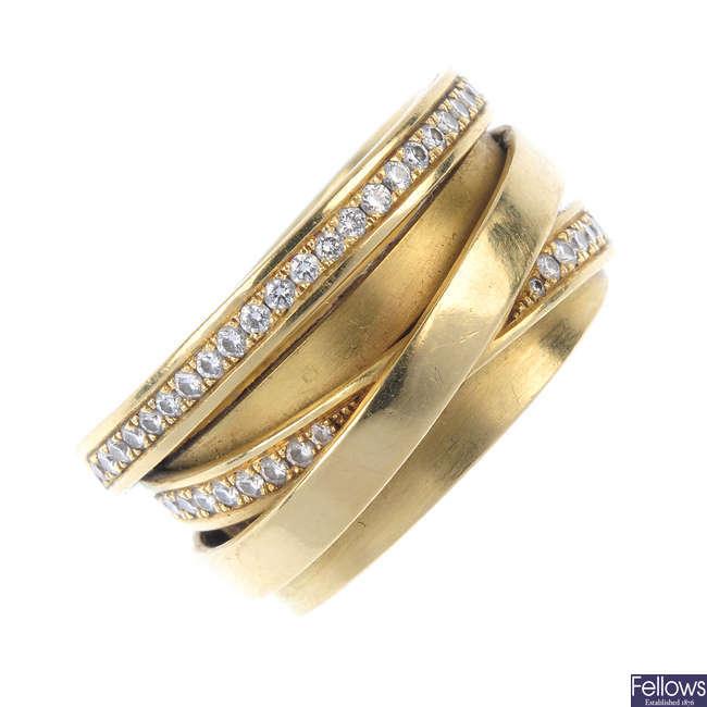 A diamond multi-row band ring.