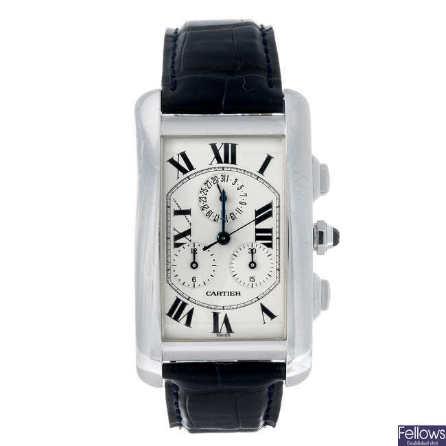 CARTIER - an 18ct white gold Tank Americaine chronograph wrist watch.
