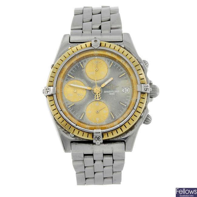 BREITLING - a gentleman's bi-metal Windrider Chronomat chronograph bracelet watch.
