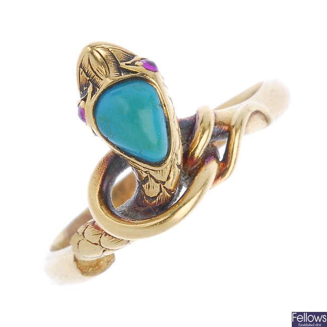 A mid Victorian 15ct gold gem-set snake ring.
