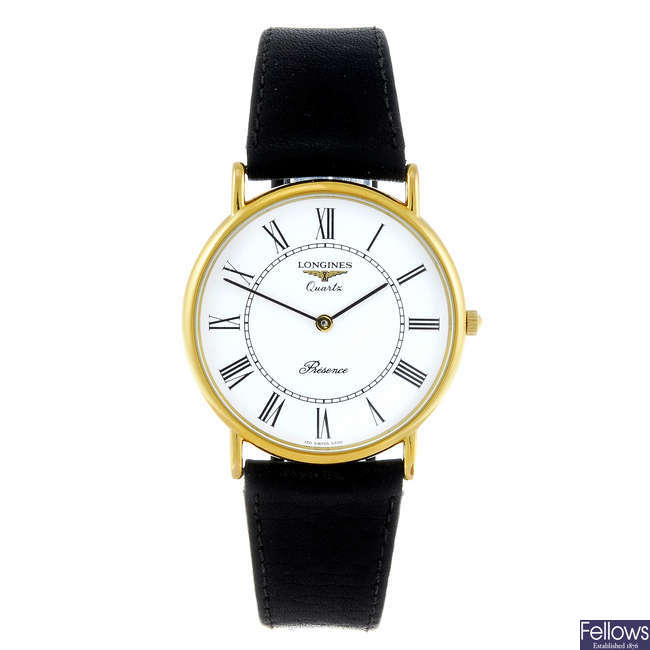 (48067) LONGINES - a gentleman's gold plated Presence wrist watch.
