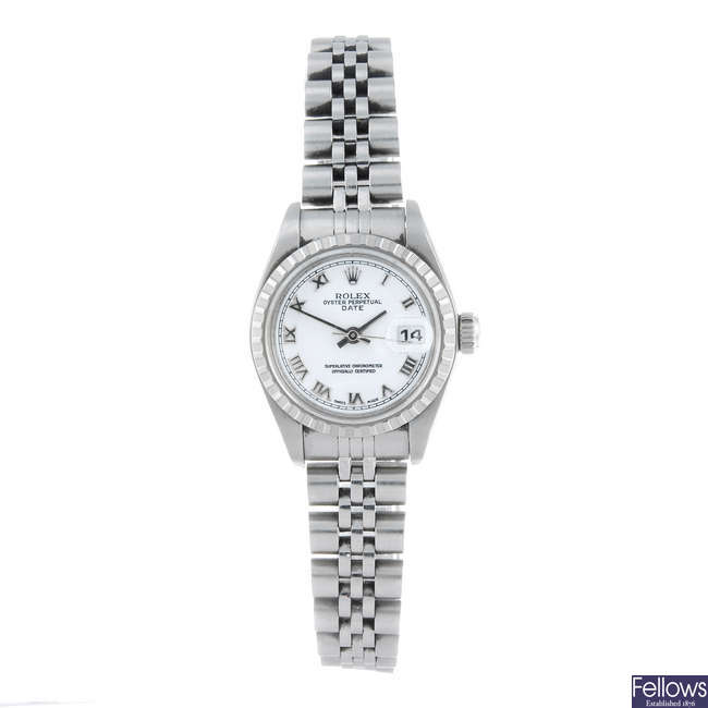 (47585) ROLEX - a lady's stainless steel Oyster Perpetual Date bracelet watch.