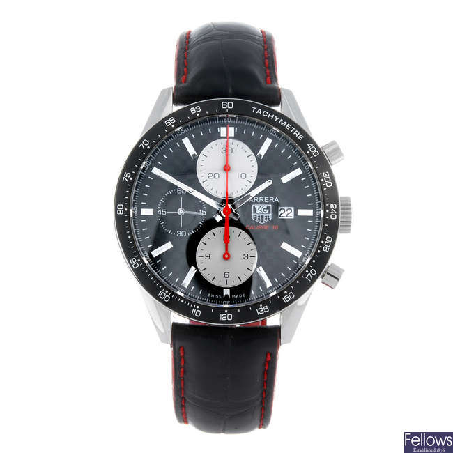 (48003) TAG HEUER - a gentleman's stainless steel Carrera Calibre 16 chronograph wrist watch.