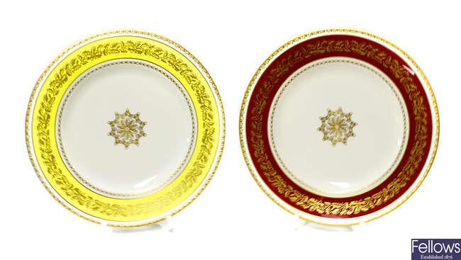 A set of six Royal Worcester porcelain Long Service plates.