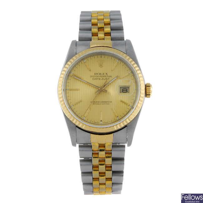 (13452) ROLEX - a gentleman's bi-metal Oyster Perpetual Datejust bracelet watch.