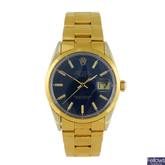 (13682) ROLEX - a gentleman's gold capped Oyster Perpetual Date bracelet watch.