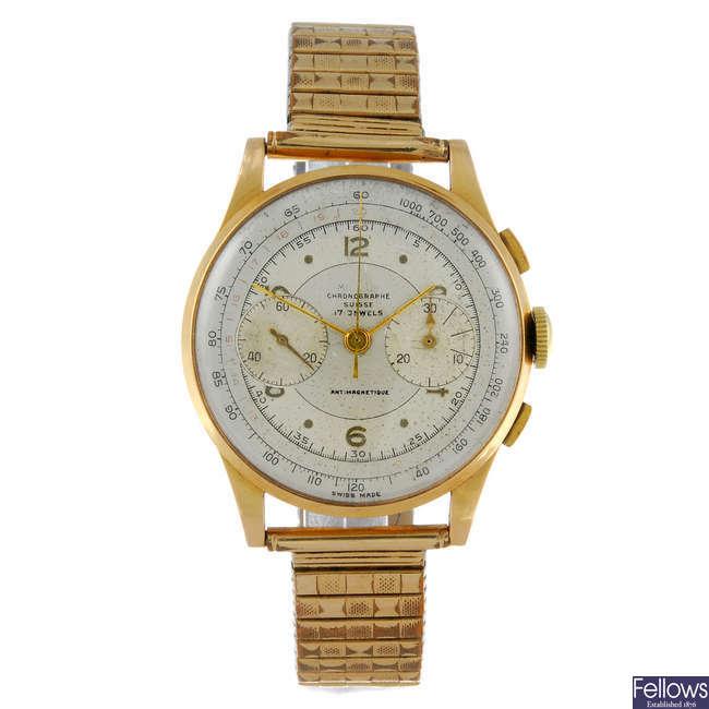 (13741) CHRONOGRAPHE SUISSE - a gentleman's yellow metal chronograph bracelet watch.