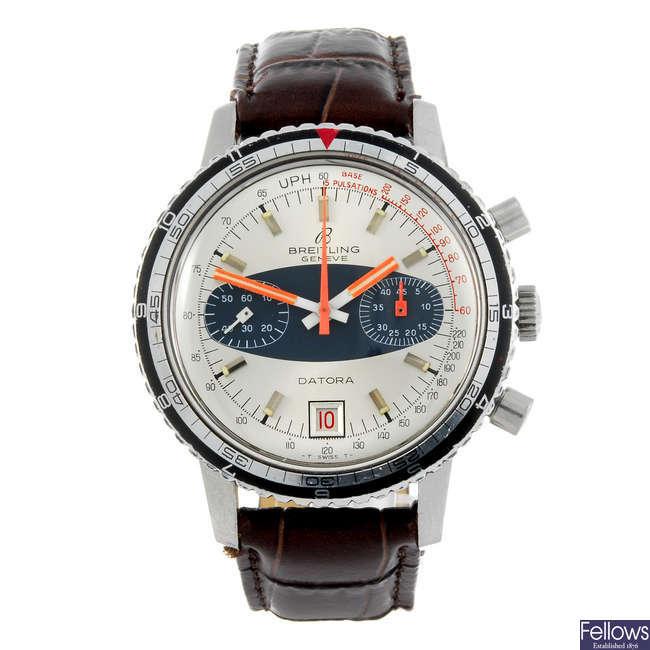 BREITLING - a gentleman's stainless steel Datora chronograph wrist watch.