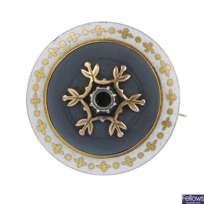A late 19th century 15ct gold enamel memorial brooch.