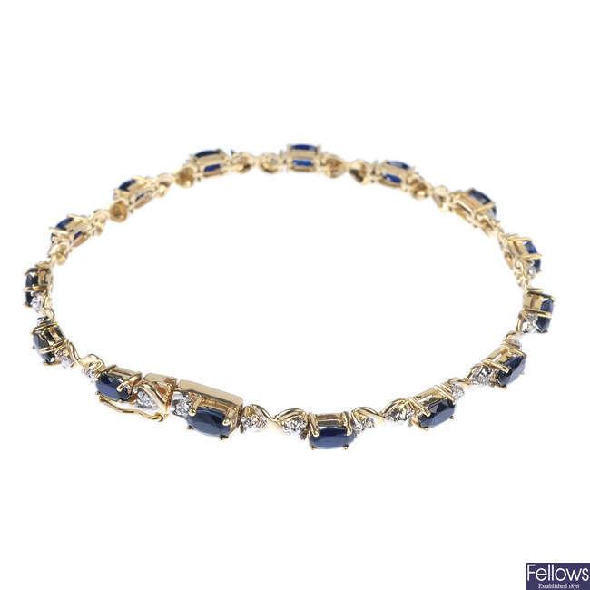 A 9ct gold sapphire and diamond bracelet.
