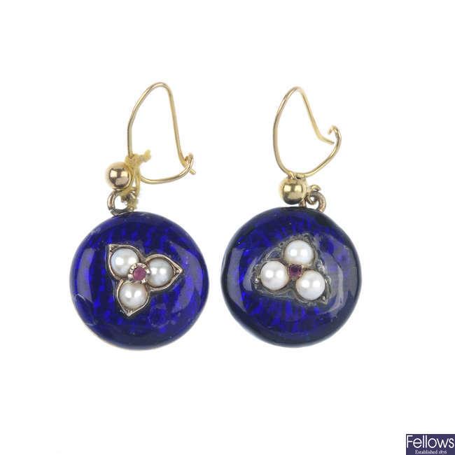 A pair of gem-set and enamel ear-pendants.
