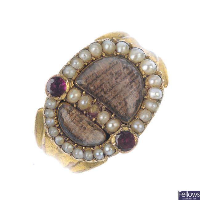 An early Victorian gem-set memorial ring.
