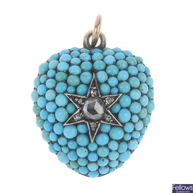 A mid Victorian 15ct gold diamond and turquoise memorial pendant.
