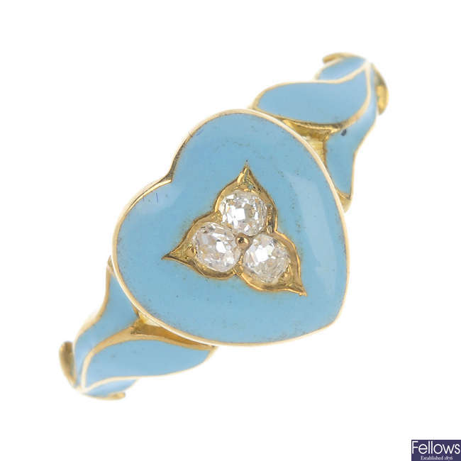 A late 19th century 18ct gold diamond and enamel ring.
