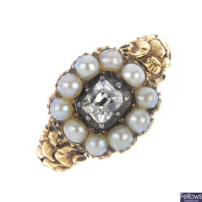 A mid 19th century 15ct gold diamond and split pearl memorial ring.