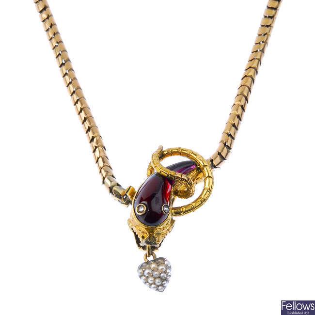 A mid Victorian snake necklace, circa 1850.