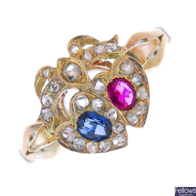 A ruby, sapphire and diamond dress ring.