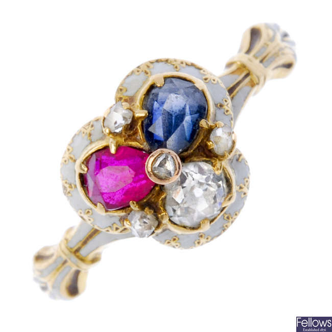 A late 19th century 18ct gold diamond, ruby and sapphire trefoil ring