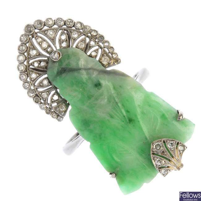 A mid 20th century 18ct gold jade and diamond dress ring.