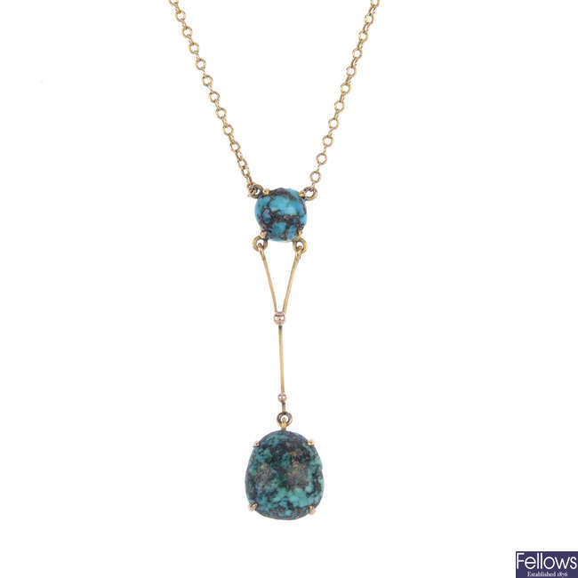 An early 20th century 9ct gold turquoise necklace.