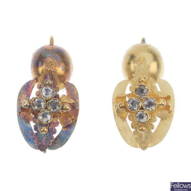A pair of late Victorian paste earrings.