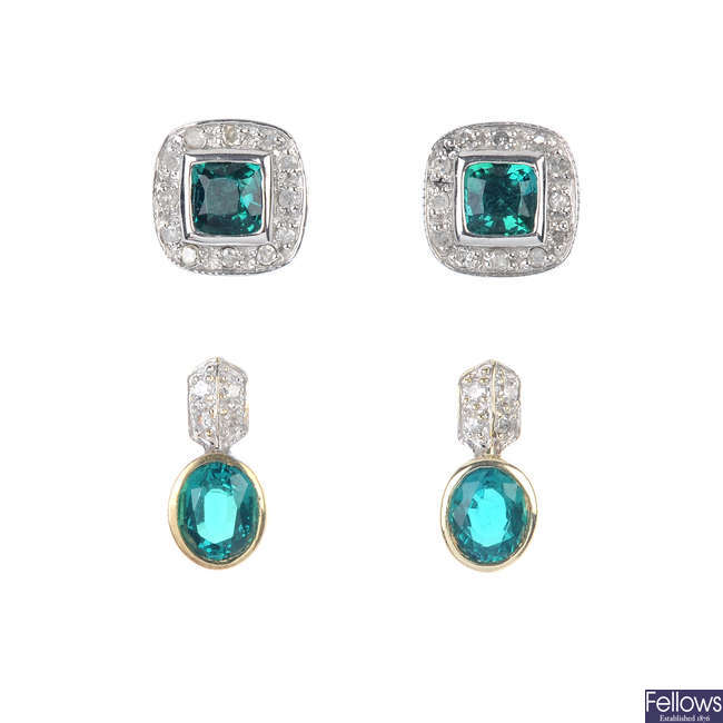 A selection of four pairs of diamond and synthetic gem-set earrings.