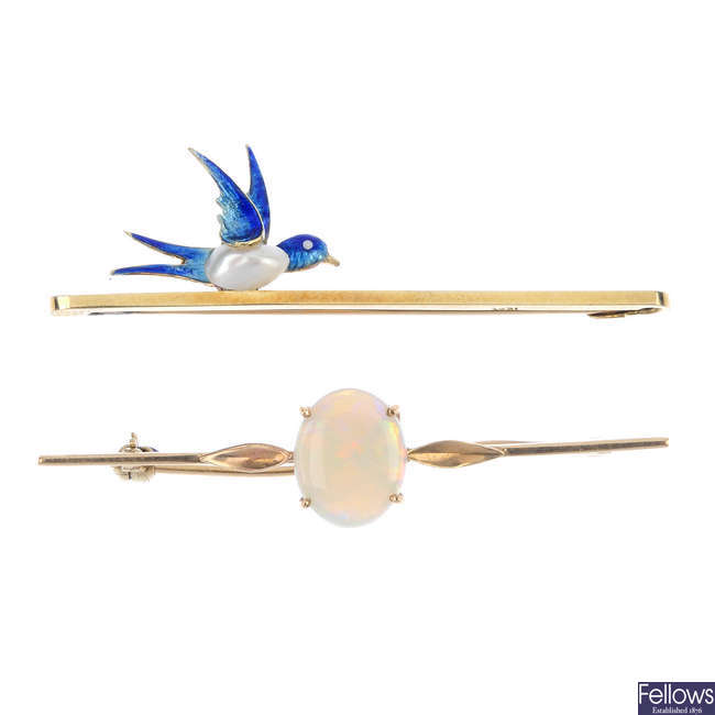 Two early to mid 20th century gem-set bar brooches.
